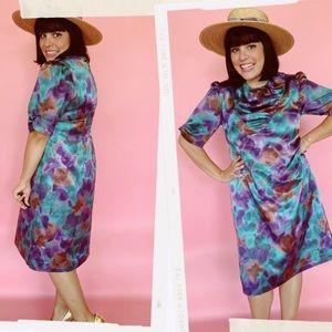 Vtg 60s Abstract Mulit Print Shift Dress S M